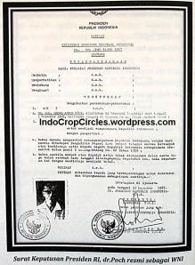 Surat keputusan dari Presiden Indonesia Dr Poch resmi menjadi warga negara Indonesia