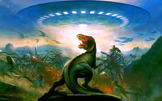 Terlihat dinosaurus jenis Tyrannosaurus Rex sedang melawan kendaraan dari pasukan Alien.