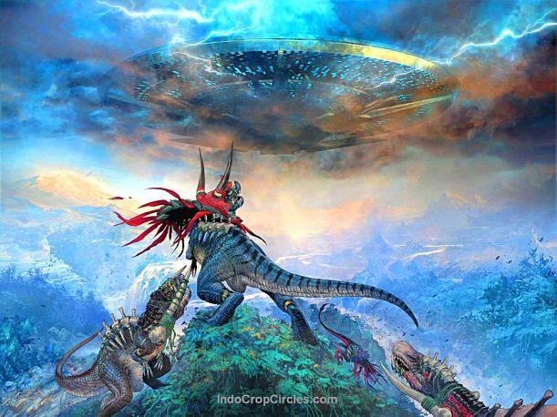 Wahana antariksa menuju Bumi di masa dinosaurus (illustrasi)