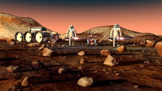 A man equipped by special suit to Venus exploration on Venus surface. (illustration by NASA)