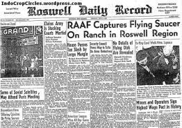Peristiwa Roswell July 8,1947 menjadi headline di koran Daily Record