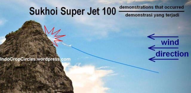 sukhoi super jet 100 approching salak mountain