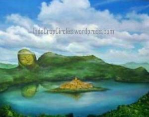 ancieLukisan candi Borobudur di tengah danau purba
