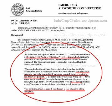 FAA mengeluarkan dokumen tentang bahayanya jenis Airbus jika menanjak dengan tajam