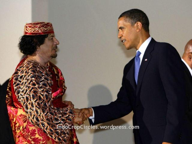 Barrack Obama and Muamar Khadaffi