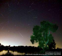 Perseid Meteors Over Ontario.Image Credit n Copyright by Darryl Van Gaal, Annotation, Judy Schmidt