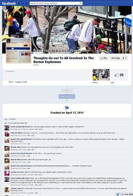 Bom Boston pages on Facebook created before explosions