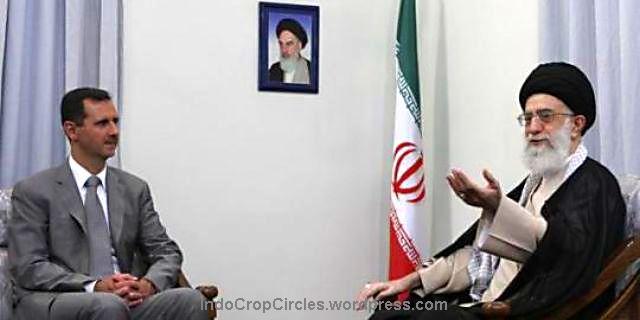Pemimpin spiritual Iran Ali Khamenei saat bertemu Presiden Suriah Basyar al-Assad di Ibu Kota Teheran, Iran. (newshopper.sulekha.com)