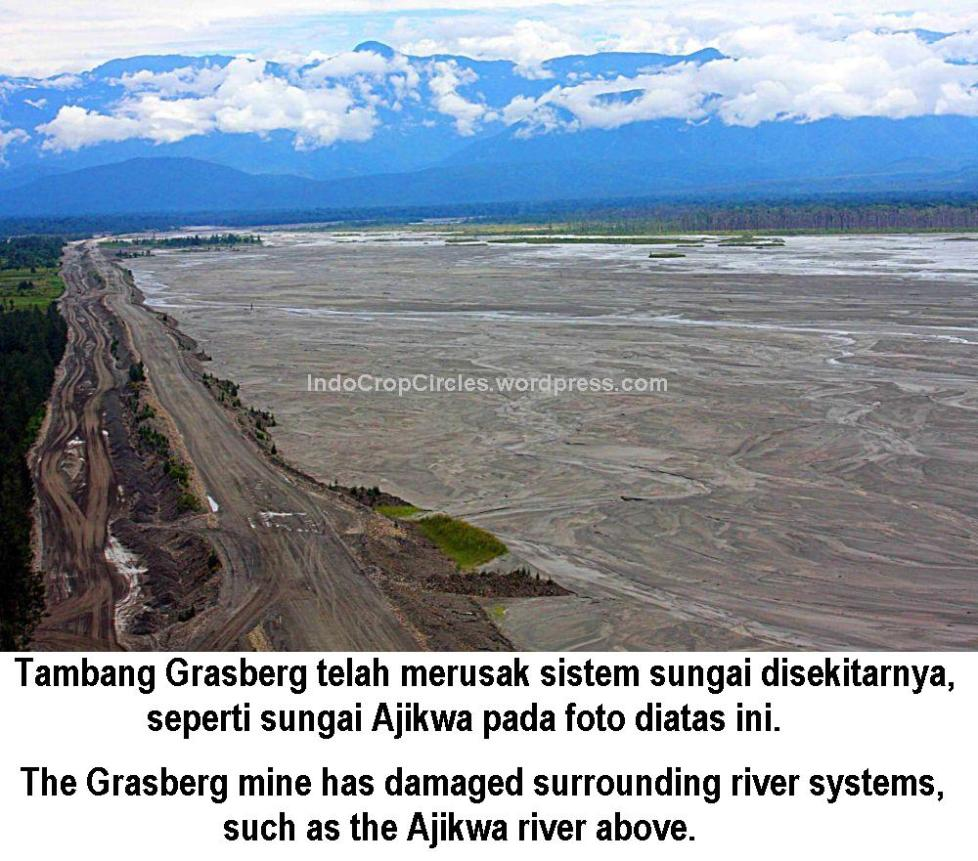 Tambang freeport Grasberg mine has damaged surrounding river systems, such as the Ajikwa river above