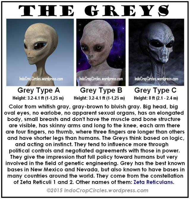 the Greys Aliens, type A, type B, type C
