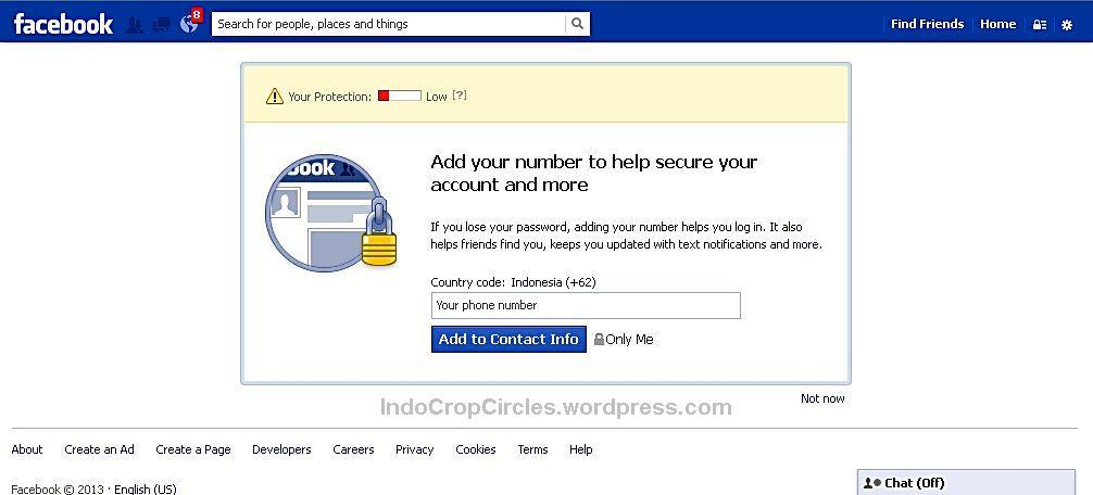 Pada saat ini Facebook meminta nomer telepon Anda sebagai verifikasi.