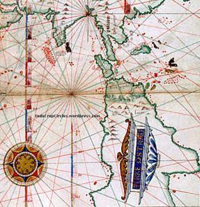 Pulau Jawa terlihat sebagai pulau yang sangat besar. Southeast Asia map (1543)