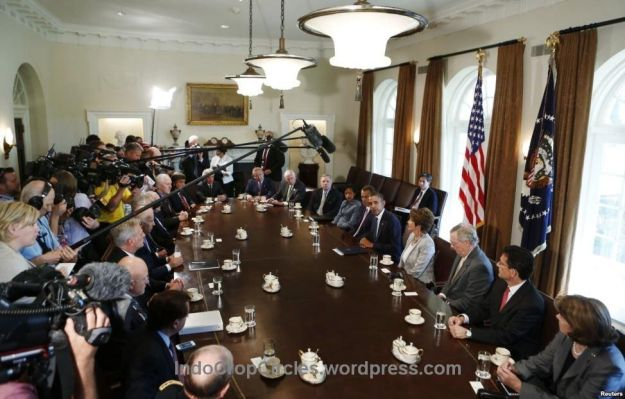 Obama membahas rencana reaksi militer ke Suriah dgn para pemimpin Kongres di Gedung Putih, Washington, DC