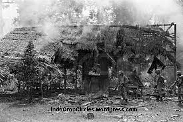 Indonesian soldiers burned down a hut suspected as hiding place of PGRS-Paraku communist insurgents in West Borneo.