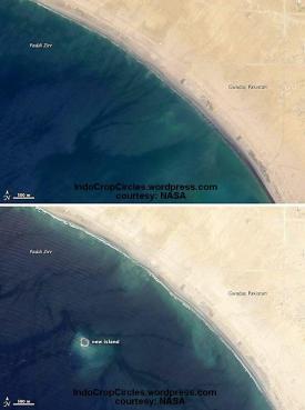 Pulau baru akibat gempa di Pakistan dilihat dari satelit (Photo by NASA)