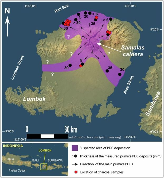 Samalas eruption and location of charcoal samples used for radiocarbon dating