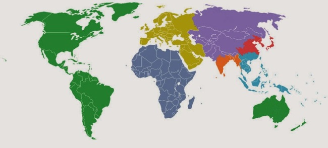 40 Maps That Will Help You Make Sense of the World - The World Divided Into 7 Regions, Each with a Population of 1 Billion