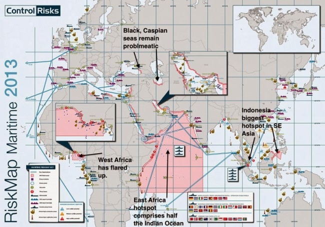 40 Maps That Will Help You Make Sense of the World - The Most Dangerous Areas in the World to Ship Due to Pirates