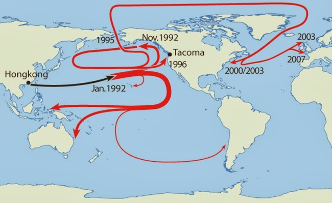 40 Maps That Will Help You Make Sense of the World - Map of Where 29,000 Rubber Duckies Made Landfall After Falling off a Cargo Ship in the Middle of the Pacific Ocean
