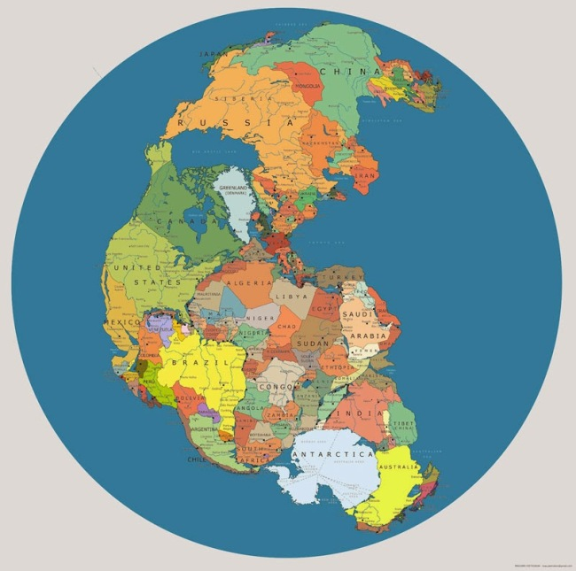 40 Maps That Will Help You Make Sense of the World - Map of 'Pangea' with Current International Borders