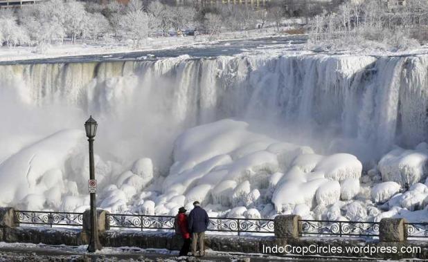 Air terjun Niagara (Niagara Falls) membeku saat musim dingin parah melanda sebagian Amerika hingga minus -40 derajat Celcius pada bulan Januari 2014.