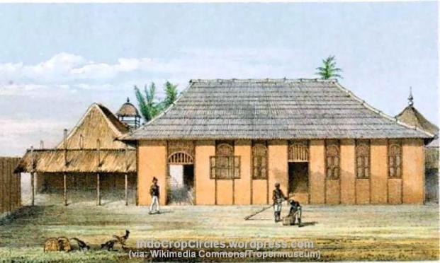 Kedaton Kesultanan Kutai di Tenggarong, tepian Mahakam, pada masa Sultan Aji Muhammad Sulaiman. Bangunan ini telah binasa, di sekitar lokasinya telah berdiri kedaton baru yang dibangun dengan gaya art-deco pada 1930-an. Litografi berdasar karya lukis Carl Bock pada 1879 dan 1880. (Wikimedia Commons/Tropenmuseum)