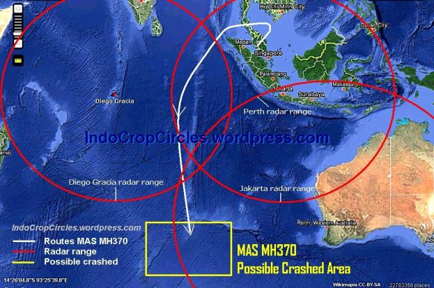 MAS MH370 possible crashed area western Perth Australia