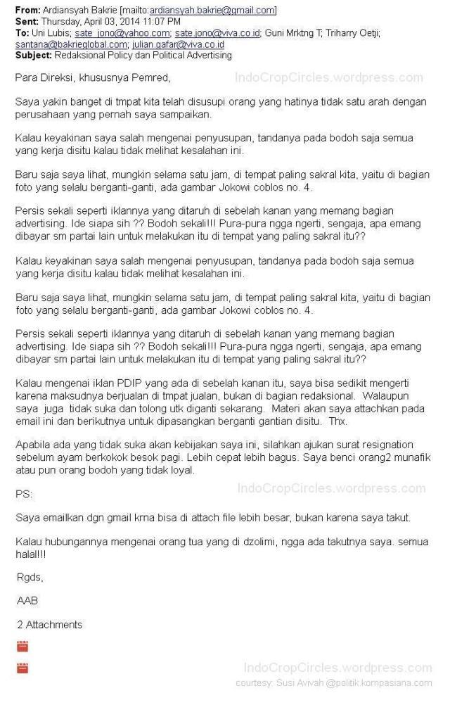 email ardiansyah ardi protes iklan PDIP dan Jokowi di vivanews