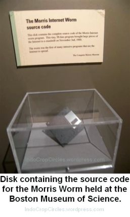 Morris Worm held at floppy disk in Boston Museum of Science