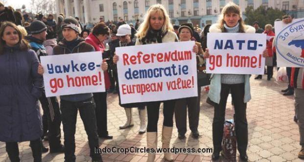 Demonstran pro Rusia di Ukraina.