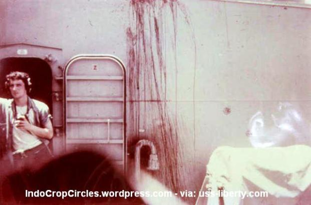 Blood stains from the attack and a continuing cover up (IndoCropCircles.wordpress.com - via: uss-liberty.com)