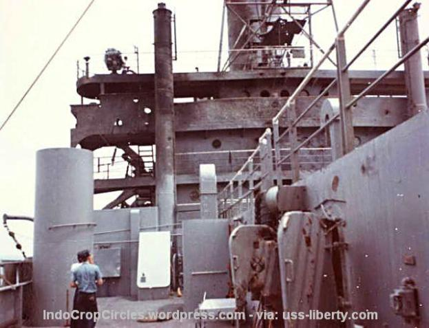 USS Liberty after Attack photo, charred superstructure (IndoCropCircles.wordpress.com - via: uss-liberty.com)