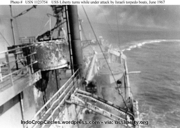USS Liberty damage at sea