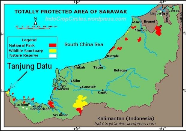 Lokasi Tanjung Datu (tanda oanah) yang dipersengketakan oleh Malaysia dan Indonesia sejak beberapa tahun lalu.