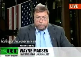 Wayne Madsen, seorang investigative journalist saat diwawancara oleh tv Russia RT tentang sejumlah pengeboman di Indonesia (RT via Youtube).