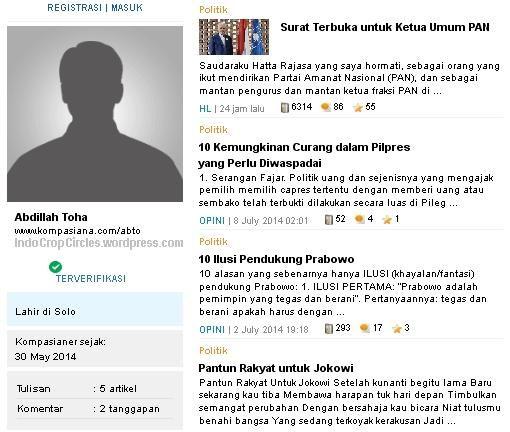 Screenshot Web-blog Abdillah Toha@kompasiana yang sudah terverifikasi.