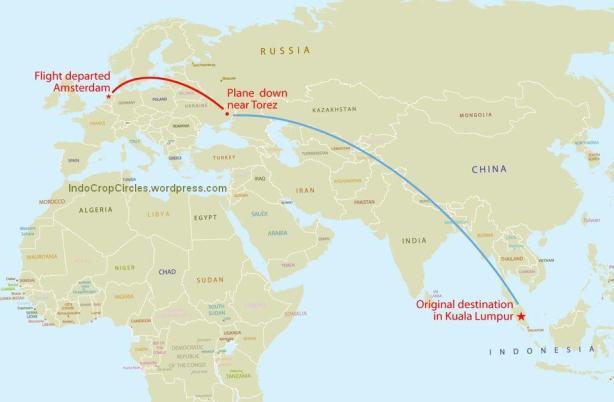 "Peta rute Malaysia Airline, nomer penerbangan MH-17 dari Amsterdam ke Kuala Lumpur. Jatuh ditembak rudal ""Buk"" saat melintasi udara Ukraina."