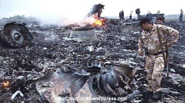 Puing Malaysia Airlines MH-17 yang hancur dan terbakar.
