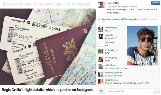 mh-17 Regis Crolla's flight details, which he posted on Instagram