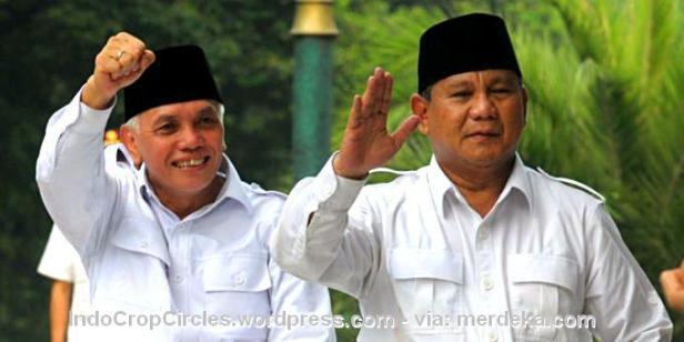 Cawapres Hatta Rajasa (kiri) dan Capres Prabowo Subianto (kanan).