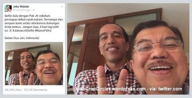 Jokowi dan Jusuf Kala saat selfie pada pemilu capres dan cawapres 2014. (twitter.com).