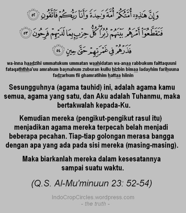 Al-Qur'an Surah Al-Mu'minuun 23 52, 53 & 54