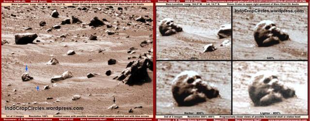 batu mars berbentuk tengkorak