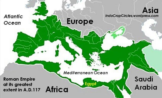 Byzantine Empire or the Roman Empire at its greatest extent in A.D. 117