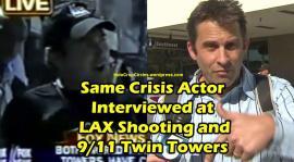 Crisis Actor yang sama ketika Penembakan di bandara Los Angeles dan tragedi WTC 9/11 Twin Towers, diwawancarai kesaksiannya oleh stasiun televisi.