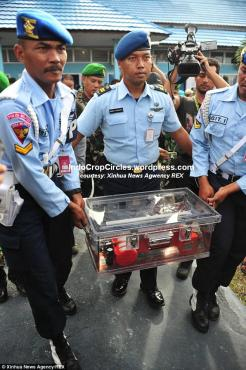 Indonesian military police carry the flight data recorder through Iskandar air base in Pangkalan Bun, Central Borneo.