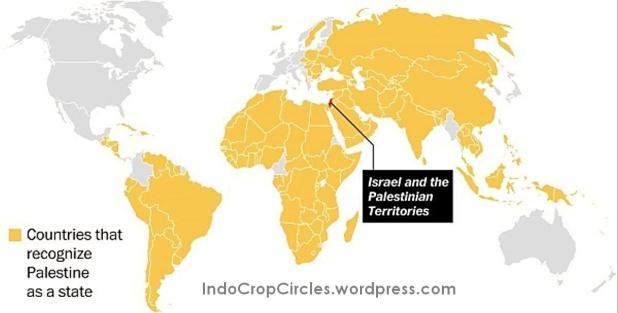 Negara-negara di dunia yang telah mengakui Negara Palestina yang merdeka (warna kuning).