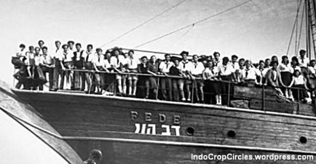 Jewish refugees on the deck of the immigrant ship Dov Hoz at Haifa in May 1946.