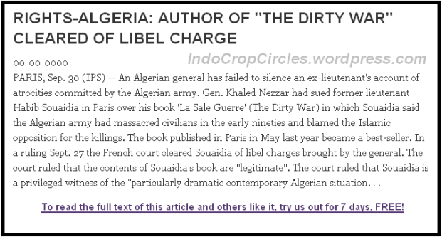 Banned web: RIGHTS-ALGERIA AUTHOR OF THE DIRTY WAR CLEARED OF LIBEL CHARGE (Screenshot)