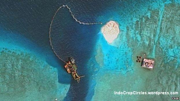 Several recent sets of images have shown land reclamation work in the Spratlys. This shows ships and construction on Mischief Reef (photo: CSIS's Asia Maritime Transparency Initiative/DigitalGlobe).